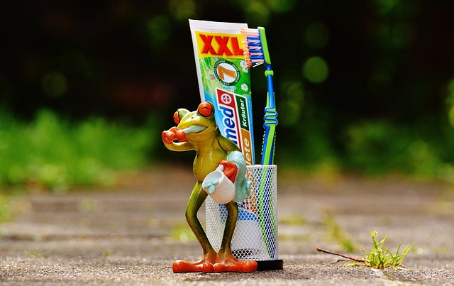 Frog picking the best toothpaste
